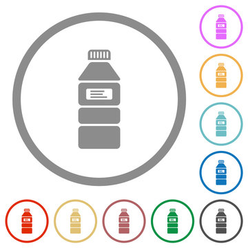 Water bottle with label flat icons with outlines