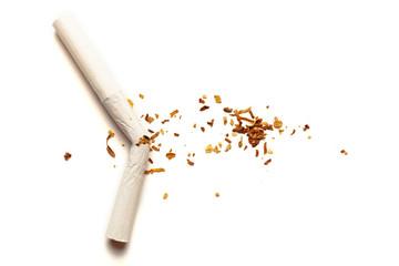 Cigarettes on white background. Addiction to smoking, harm of tobacco smoke. Bad habit, smoking kills.