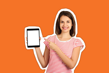 Portrait of a smiling attractive girl pointing finger at black screen tablet computer. emotional girl Magazine collage style with trendy color background
