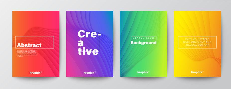 Set of minimal abstract curved wave shape on vivid gradient colors background for Brochure, Flyer, Poster, leaflet, Annual report, Book cover, Graphic Design Layout template, A4 size