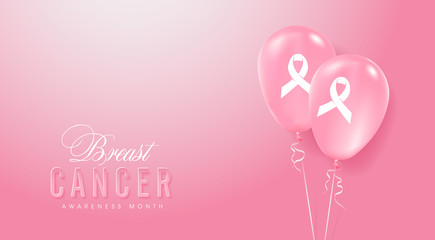 Breast cancer october awareness month pink balloons banner background,vector illustration