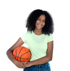 African teenager girl with a basket ball