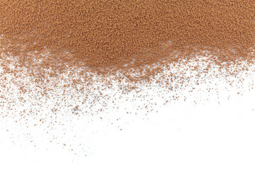 pile cocoa powder top view on white background. Wall mural
