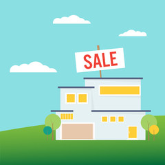 Buying a new home. Sale sign shows the house for sale