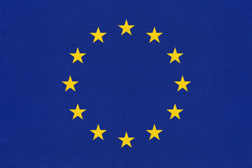 European union official textile blue flag with star.