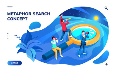 Isometric page for search concept. Metaphor for SEO and job, work, news and information searching. Analysis and optimization, monitoring and web surf app. Team with magnifying glass. Smartphone screen