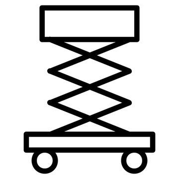 Scissor Lift Design, Electric Hydraulic lift Vector, Industrial cable car Icon