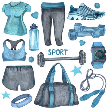 Watercolor illustration of gym, sport or fitness female set. sports stuff: water bottle, watch, bag, weight, t-shirt, dumbbells, jump rope, trainers.