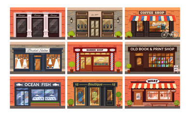 Retro shop store facade with storefront vector