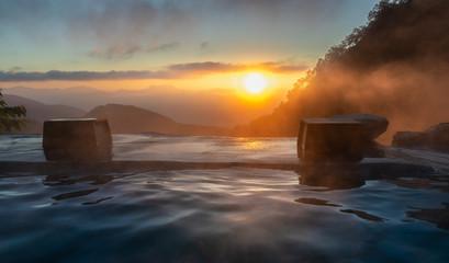 Sunrise in the Japanese hot spring, Yari Onsen, Hakuba, Japan Wall mural