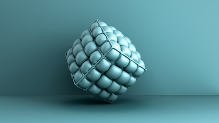 blue soft cube minimalistic backgroung 3d render image