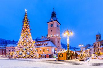 Brasov, Romania. Christmas Market. Wall mural