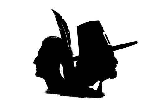 Profile silhouettes of a Wampanoag character and a pilgrim. Framed in stars and the flag of the United States.