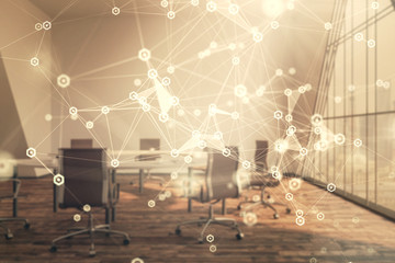 Double exposure of technlogy theme abstract hologram on conference room background. Concept of hightech Wall mural
