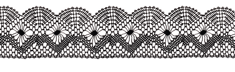 Black lace ribbon isolated view