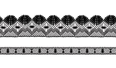 Black lace ribbons isolated shot