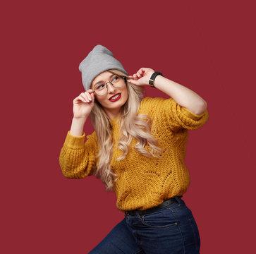 beautiful christmas woman in yellow sweater