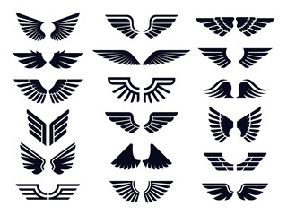 Silhouette pair of wings icon. Angel wing, decorative fly emblem and eagle stencil symbols. Angels wings pictogram logo or tattoo sketch art. Isolated vector icons bundle