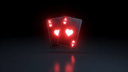 King and Ace of Hearts Cards With Glowing Neon Lights Isolated On The Black Background - 3D Illustration