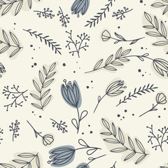 Seamless pattern with different   flowers. Flowers for textile, wallpaper,  scrapbooking
