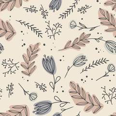 Seamless pattern with creative decorative flowers in paster colors. Great for fabric, textile.