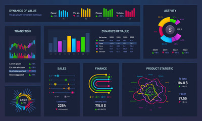 Wall Mural - Infographic dashboard. Financial charts, gradient graph and trading statistic chart. Futuristic infographics, statistics graphic analyzing finance data bar vector illustration
