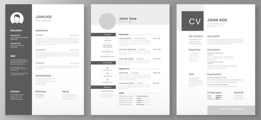 Resume template. Cv professional or designer jobs resumes. Work in best corporate. Professional job hiring list, business work hr interview document vector illustration