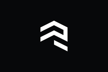 Logo design of R in vector for construction, home, real estate, building, property. Minimal awesome trendy professional logo design template on black background.