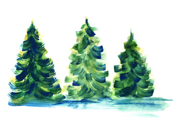 Inconsistent row of three fir trees casting blue shadows isolated on white background. Watercolor hand drawn image of coniferous trees painted with large brush strokes of blue, green and yellow.