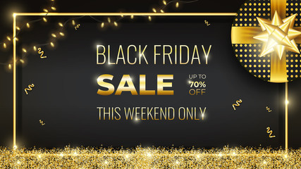Gold Black Friday Sale banner with gift, glowing garland and golden sparkles on Dark Background with rectangular frame. Social Media Banner Template good for cover, poster, birthday, anniversary