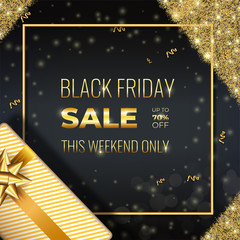 Gold Black Friday sale card with realistic gift and glowing golden sparkles on Dark Background with square frame. Social Media Banner Design Template good for cover, poster, wallpaper, party