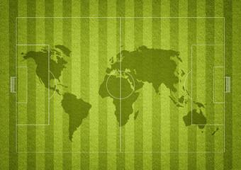 Fussballfeld mit Weltkarte