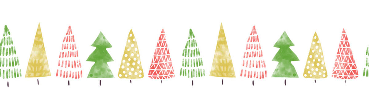 Seamless Christmas tree border hand drawn watercolor. Decorative hand painted repeating Winter holiday design for Christmas decoration, banners, ribbons, greeting cards, digital scrapbooking