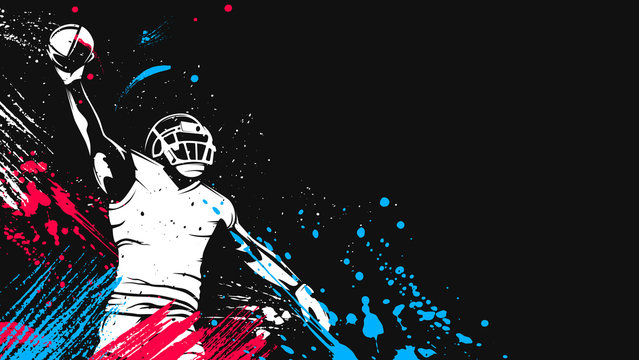 American football player. Quarterback isolated on white. Super bowl sport theme vector illustration.