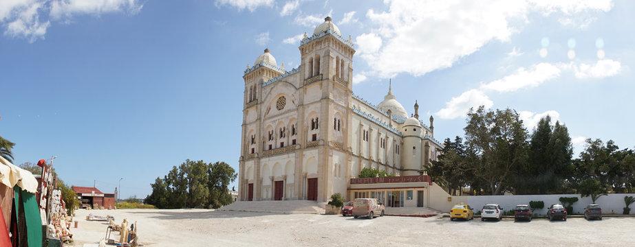 Catholic church in the old part of Sidi Bou Said village in Carthage, Tunisia.