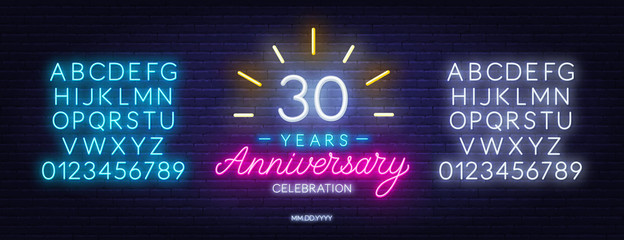 30th anniversary celebration neon sign on dark background. Neon alphabet . Template for invitation or greeting card. Fototapete