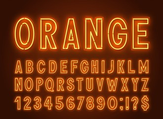 Neon orange font, light alphabet with numbers on a dark background.