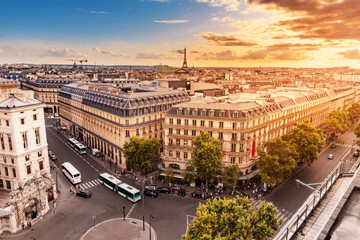 Foto auf Gartenposter Paris Aerial cityscape view of Paris skyline with Eiffel tower and rooftops. Travel destinations in France