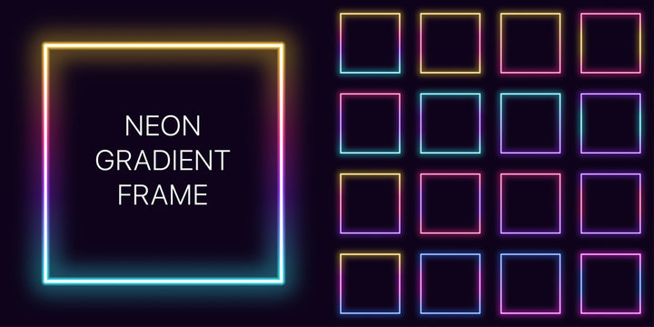 Neon gradient square Frame with copy space. Templates set of Neon gradient quadrate Border
