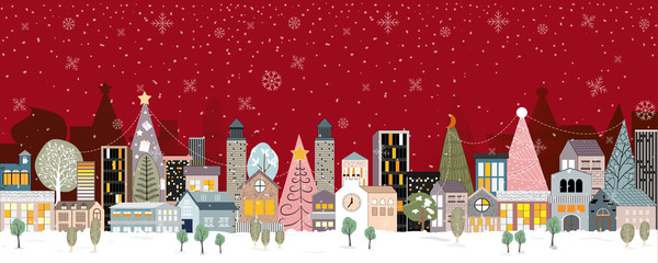 Panorama Winter landscape, Christmas and new year celebrated in the town with red background, Modern city life, Vector flat illustration of winter cityscape at night with snowing