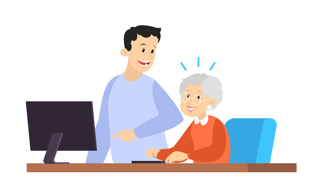 Man help old woman working on computer. Idea of modern