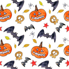 Seamless halloween pattern. Halloween background with drawing elements. Pumpkin, bat, skull and autumn leaves pattern.