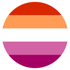 New Lesbian pride flag created in 2018, round shape icon on white background