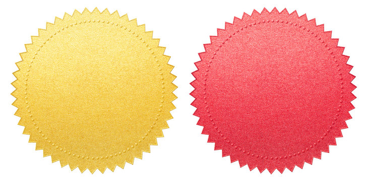 red and gold certificate paper seals set isolated with clipping path included