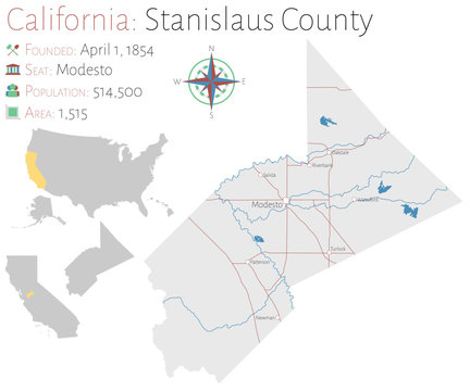 Large and detailed map of Stanislaus county in California, USA