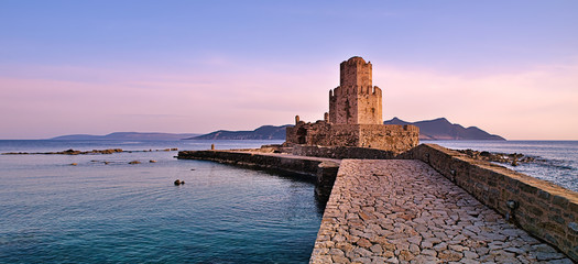 Impressive three-tiered watchtower, Venetian fort castle of Methoni, Greece at sunset time. Wall mural