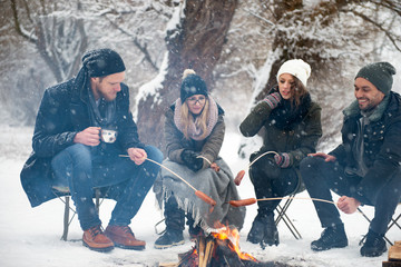 Friends having barbecue on a snowy day Wall mural