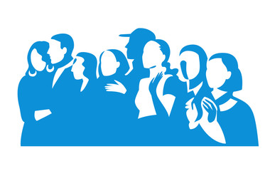 Group of people silhouettes vector banner design. Female and male figures clipart.