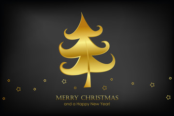 christmas card with golden christmas tree and stars on black background vector illustration EPS10