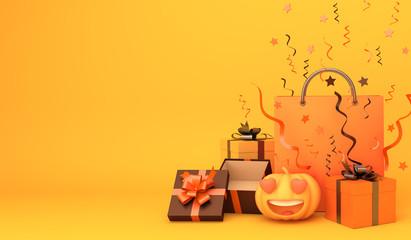 Shopping bag, pumpkin, gift box, confetti on orange background. Design creative concept of happy halloween celebration holiday. 3D rendering illustration.